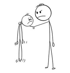 Cartoon angry big man holding smaller man vector