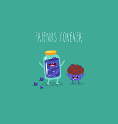 cartoon breakfast friends forever jam vector image