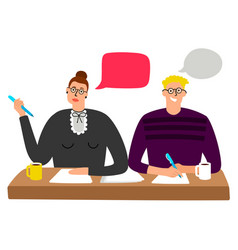 cartoon character hr managers interview vector image