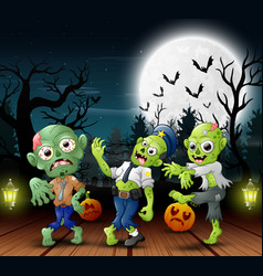 Cartoon of three zombie with fill moon background vector