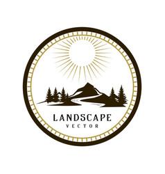circle vintage retro landscape mountain logo vector image