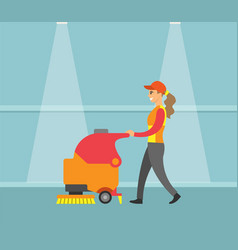 cleaning service machine with brush tool vector image