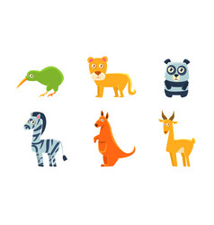 collection cute exotic animals and birds kiwi vector image