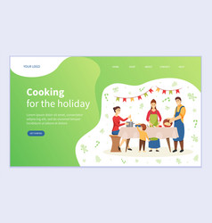 Cooking for holiday table at christmas website vector