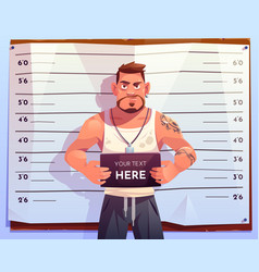 Criminal mugshot front view on measuring scale vector