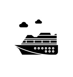cruise ship black icon sign on isolated vector image