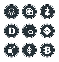 cryptocurrency or virtual currencies icon set vector image
