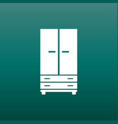 Cupboard icon on green background modern flat vector