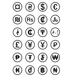 Currency symbols world vector