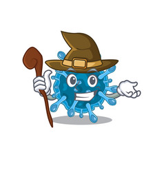 Cute and sneaky witch microscopic corona virus vector