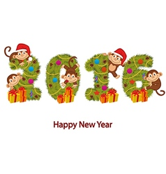 Design new year 2016 with monkeys and Christmas vector