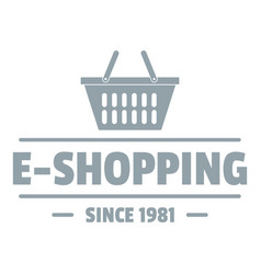 E shipping logo simple gray style vector