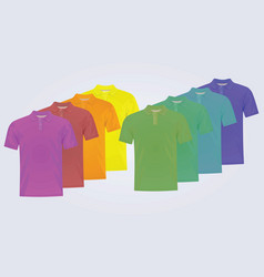 Eight polo shirts with different colors vector
