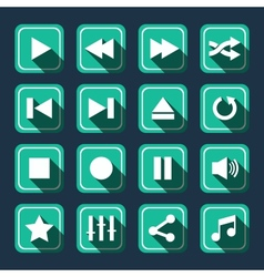 Emerald Multimedia Icons With Long Shadow vector image
