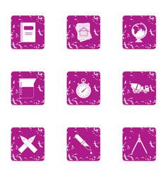 Enterprise icons set grunge style vector