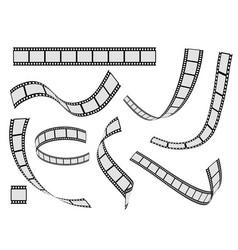 Film strip set cinema strip roll 35mm blank slide vector