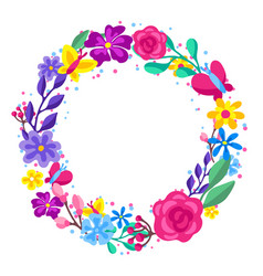 frame with spring flowers beautiful decorative vector image