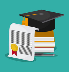 Graduation cap diploma book icon graphic vector