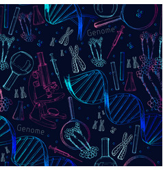 Hand drawn seamless pattern structure dna vector