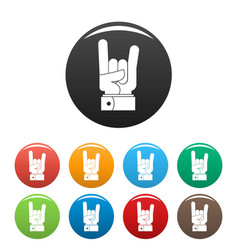 hand rock icons set color vector image