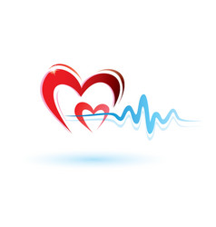 Heart and ECG white vector