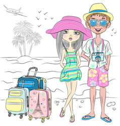 hipster traveler couple on the sea beach vector image