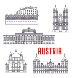 Historic buildings and sightseeings of Austria vector