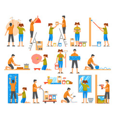 Home renovation flat color decorative icons vector