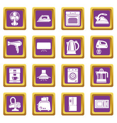 House appliance icons set purple square vector
