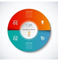 infographic circle template with 2 options vector image