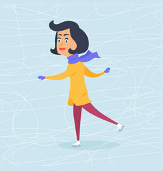 isolated cartoon girl skating on frozen surface vector image