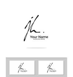J h jh initial logo signature handwriting vector