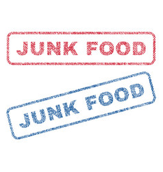 Junk food textile stamps vector