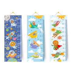 Kids height chart cartoon wall ruler for children vector