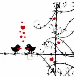 Love birds kissing vector