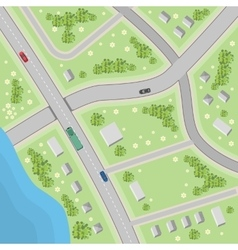 Map with driving directions Top view vector image