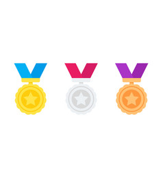 medals gold silver bronze reward icons on white vector image