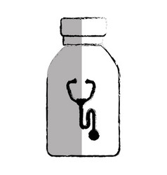 Medicine bottle with stethoscope isolated icon vector
