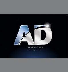Metal blue alphabet letter ad a d logo company vector