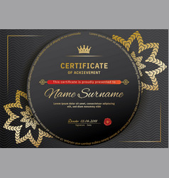 Official black certificate with red black design vector