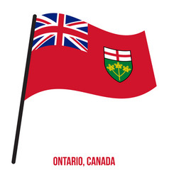 Ontario flag waving on white background provinces vector