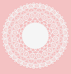 openwork white napkin lace frame round element on vector image