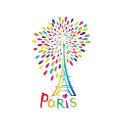 Paris sign french famous landmark eiffel tower vector
