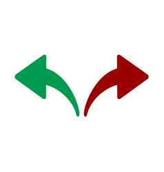 Red green left and right arrows opposite vector