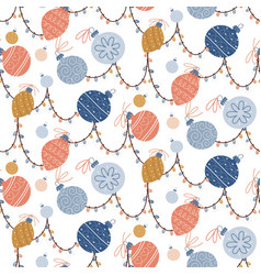 retro christmas tree baubles seamless pattern vector image