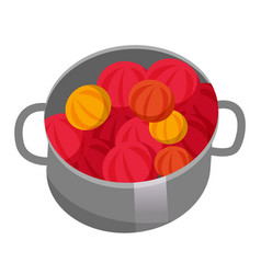 saucepan with fruits or vegetables red fruits vector image