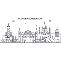 Scotland glasgow architecture line skyline vector