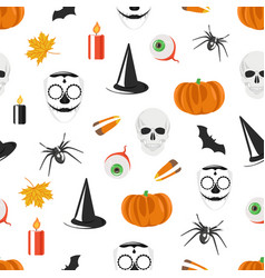 seamless pattern with halloween holiday vector image