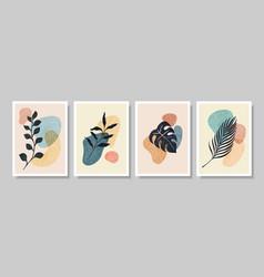 Set abstract botanical wall art abstract vector