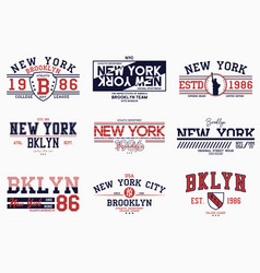 Set brooklyn new york slogan prints vector